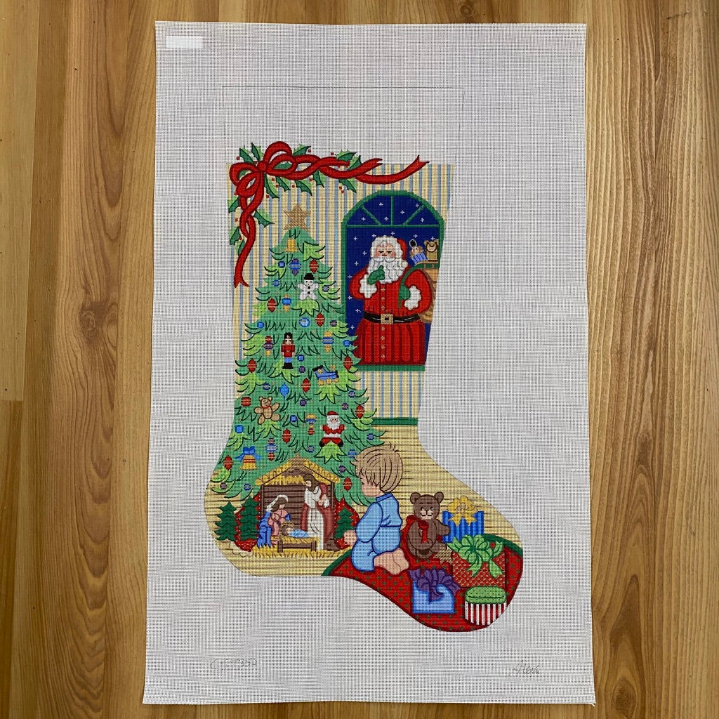 Alexa Christmas Stocking 7352-Needlepoint Canvas-KC Needlepoint