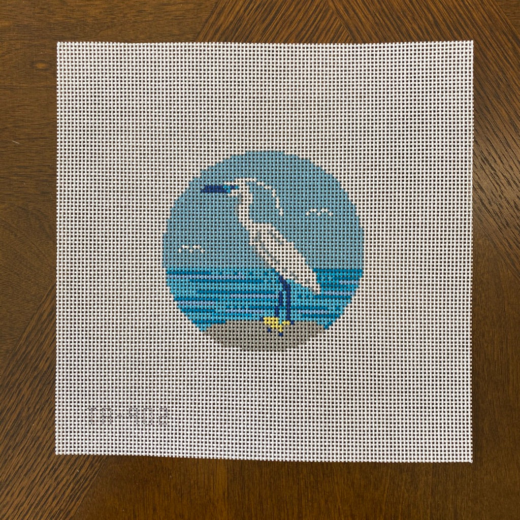 White Heron Round Canvas