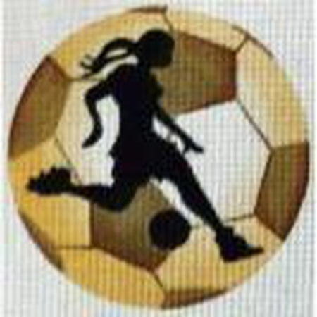 Soccer Player Girl Round Canvas - needlepoint