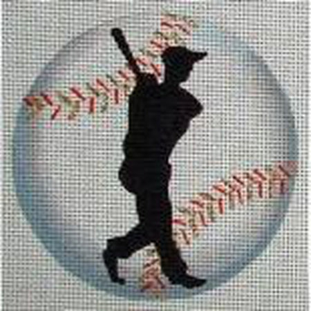 Baseball Player Round Canvas - needlepoint
