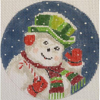 Festive Snowman Round Canvas-Needlepoint Canvas-Purple Palm-KC Needlepoint