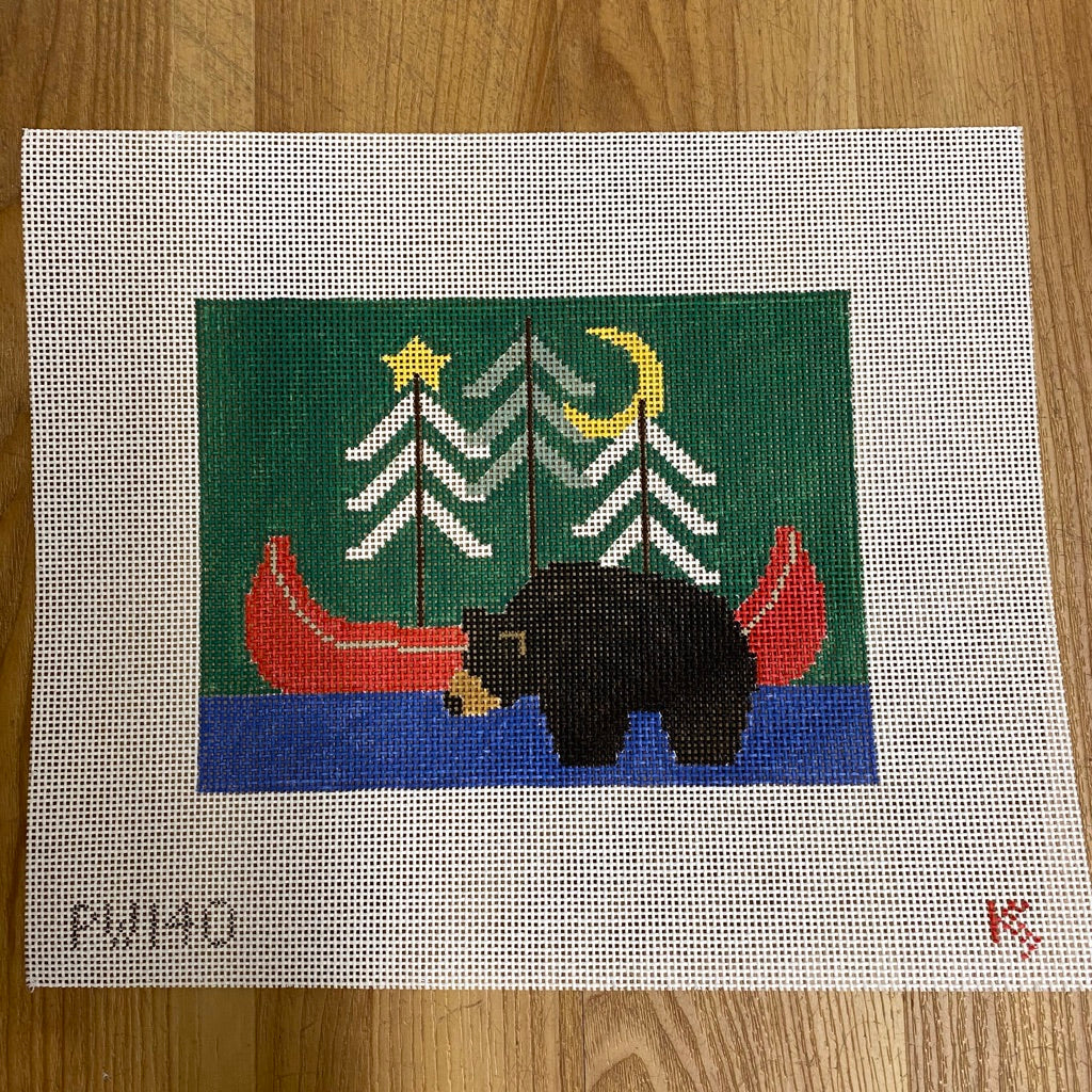 Bear with Red Canoe Pillow Canvas - needlepoint