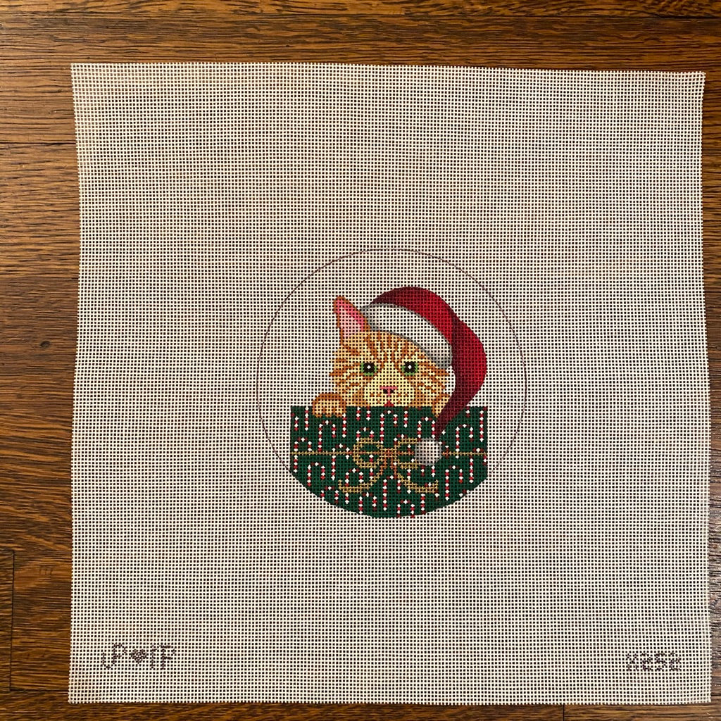 Tabby in Package Ornament Canvas - needlepoint