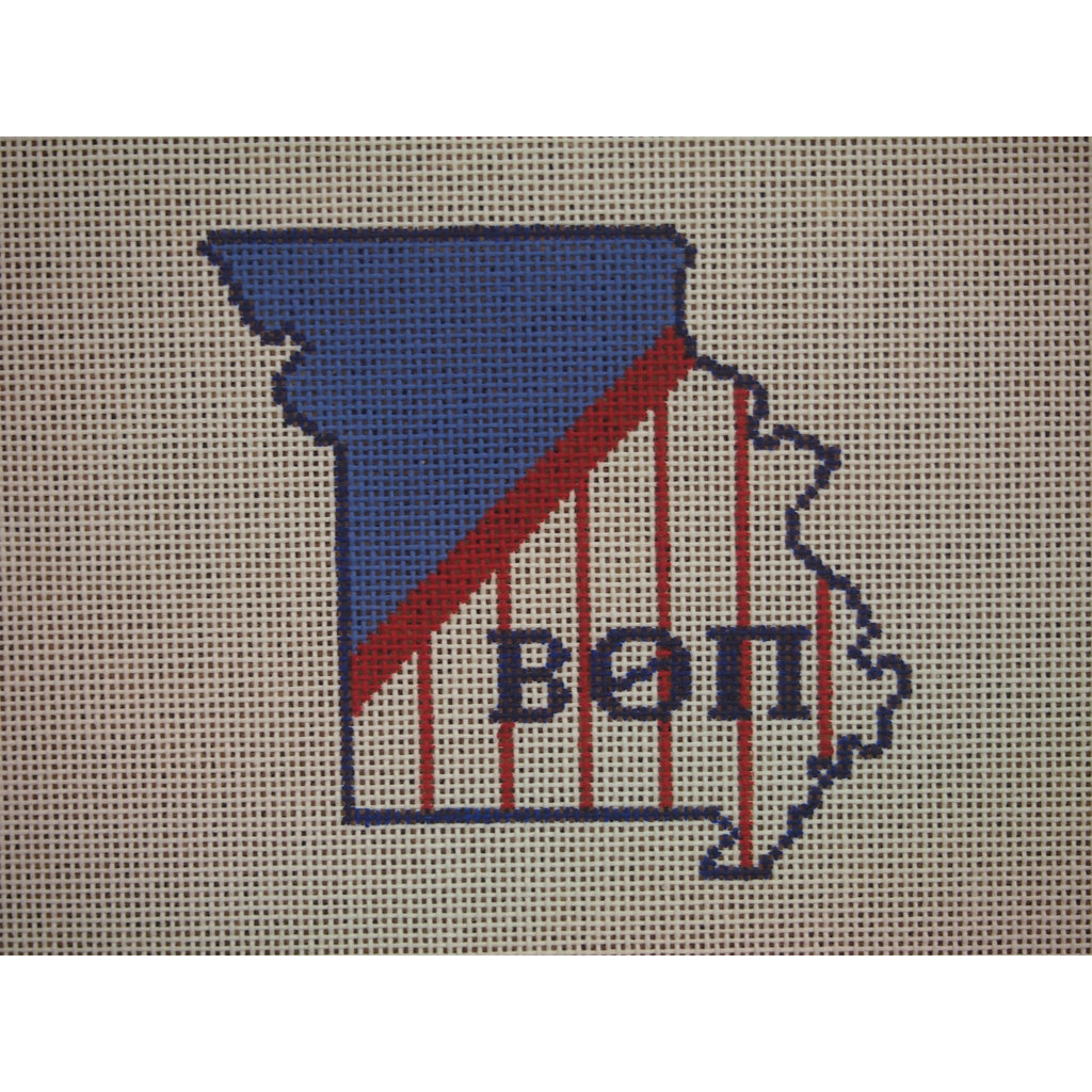 Missouri Beta Theta Pi Canvas-Needlepoint Canvas-Kangaroo Paws-KC Needlepoint