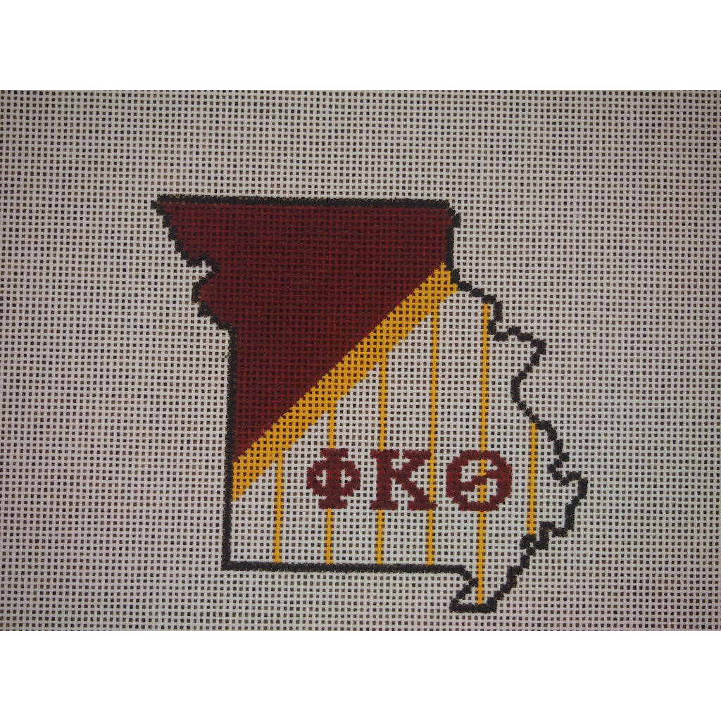 Missouri Phi Kappa Theta Canvas-Needlepoint Canvas-Kangaroo Paws-KC Needlepoint