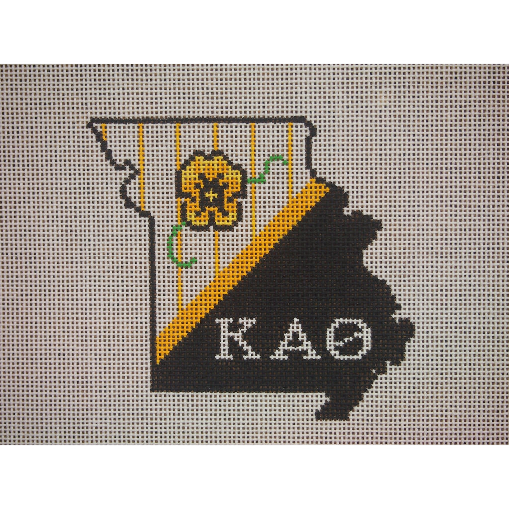 Missouri Kappa Alpha Theta Canvas-Kangaroo Paws-KC Needlepoint