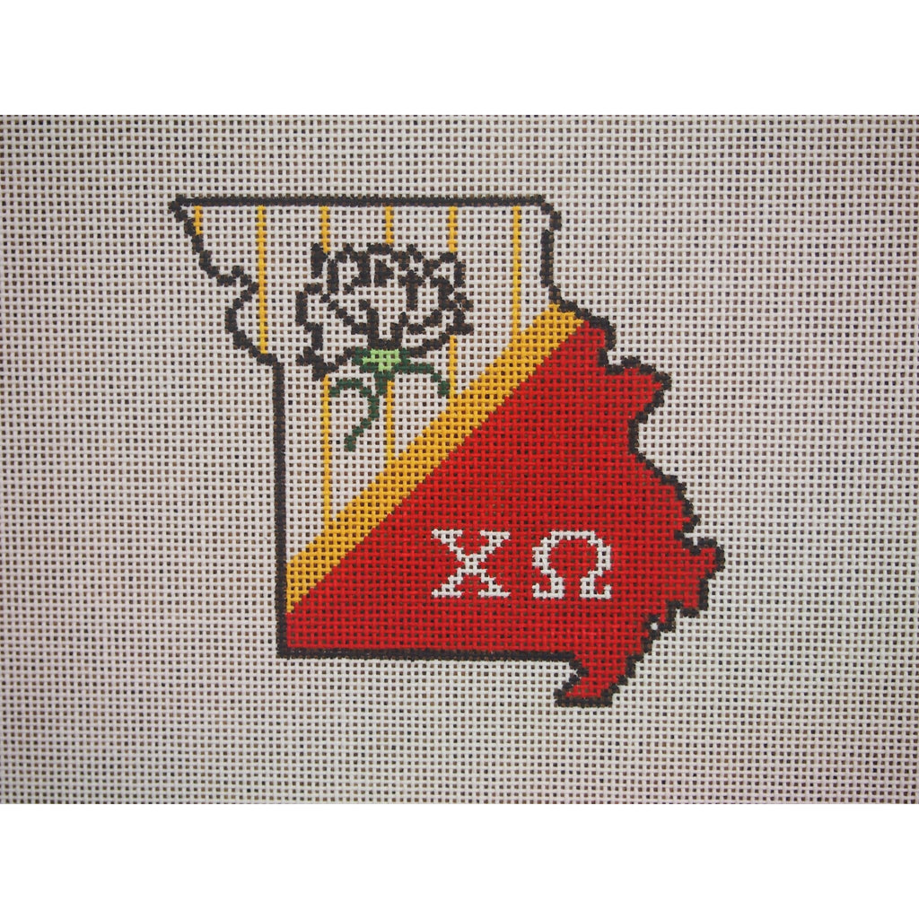 Missouri Chi Omega Canvas-Kangaroo Paws-KC Needlepoint