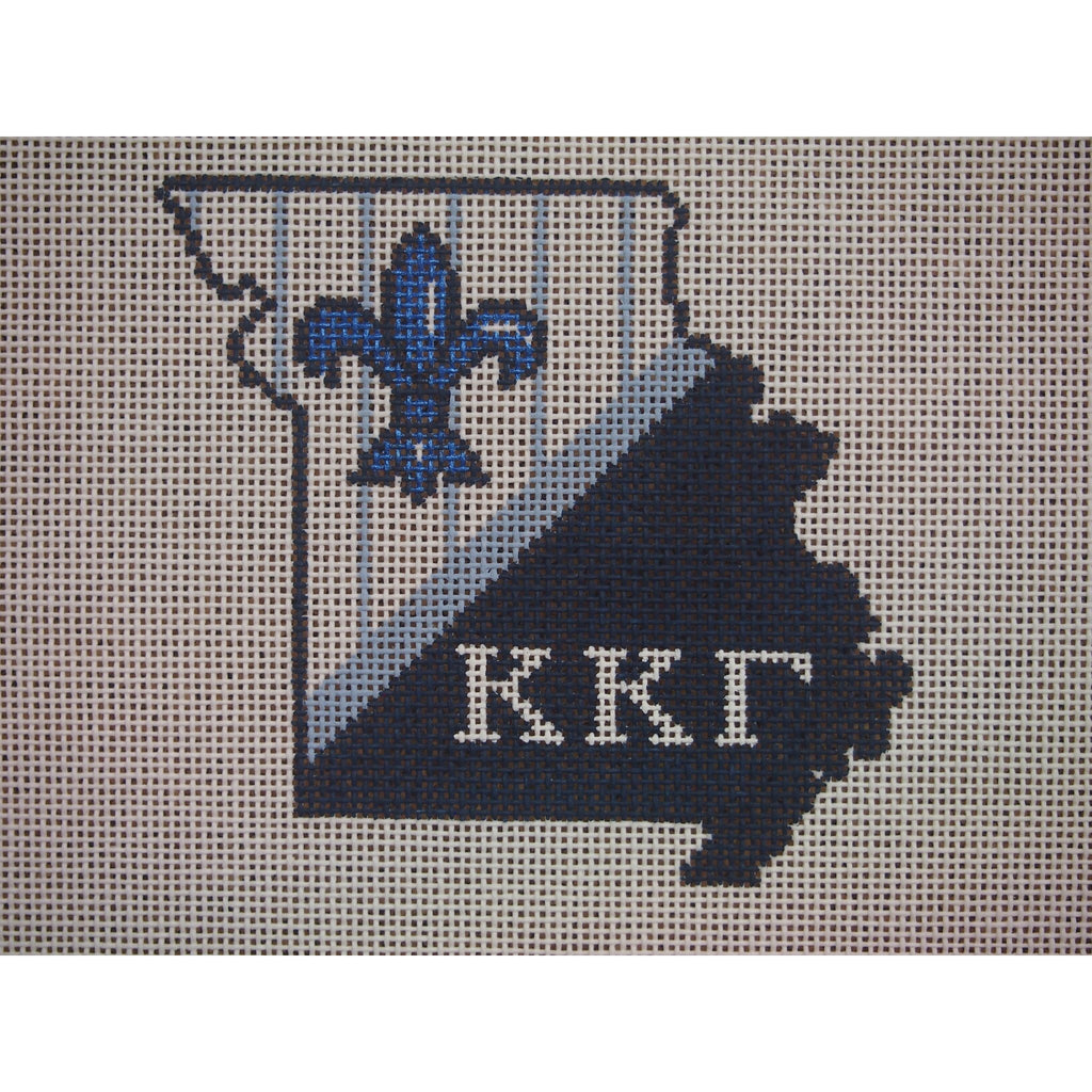 Missouri Kappa Kappa Gamma Canvas-Kangaroo Paws-KC Needlepoint