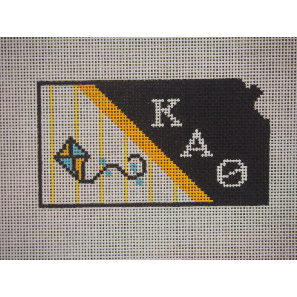 Kansas Kappa Alpha Theta Canvas-Kangaroo Paws-KC Needlepoint