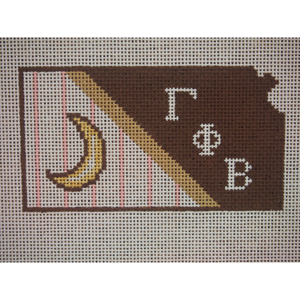 Kansas Gamma Phi Beta Canvas-Kangaroo Paws-KC Needlepoint