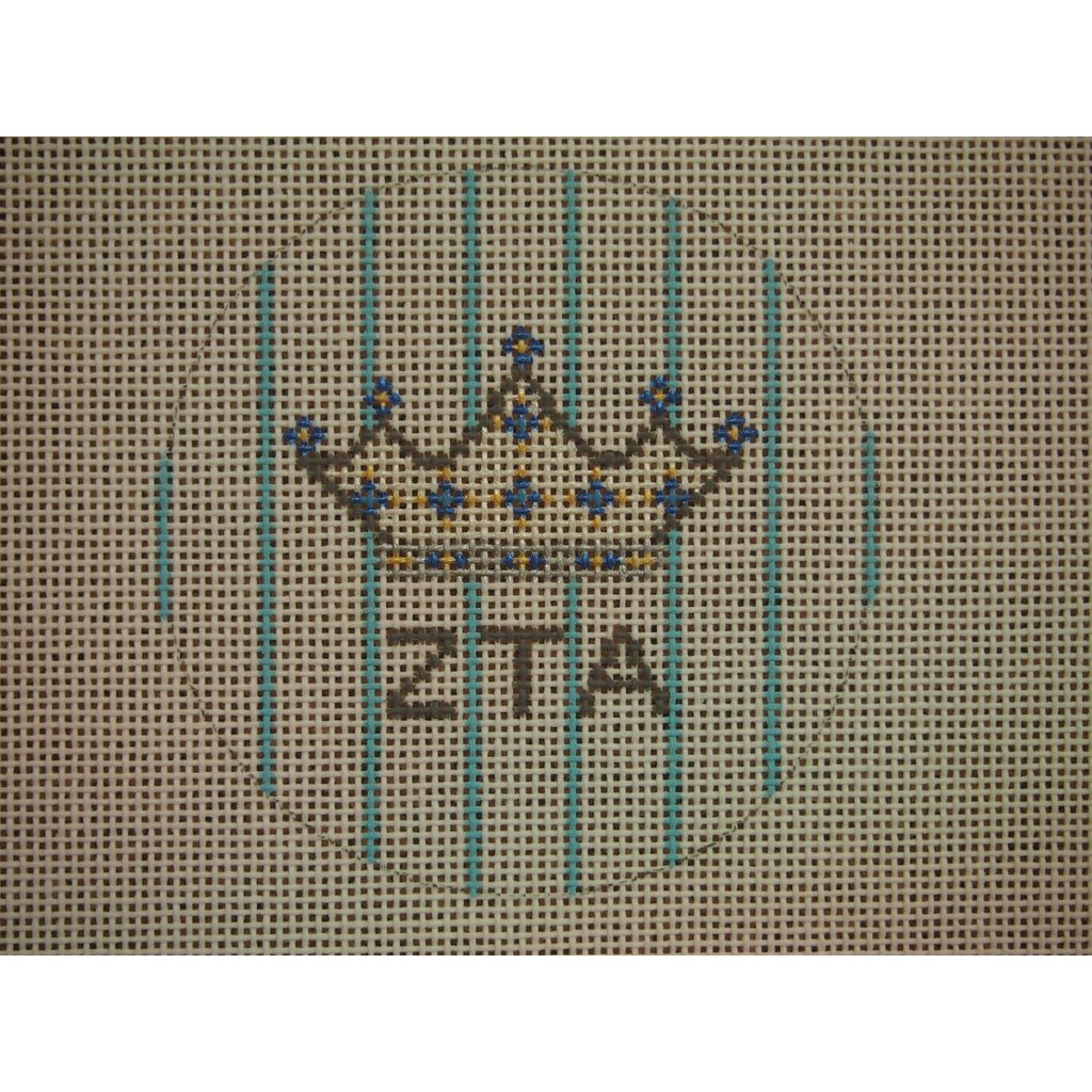 "Zeta Tau Alpha</br> 3"" Round Canvas-Needlepoint Canvas-Kangaroo Paws-18 mesh-KC Needlepoint"