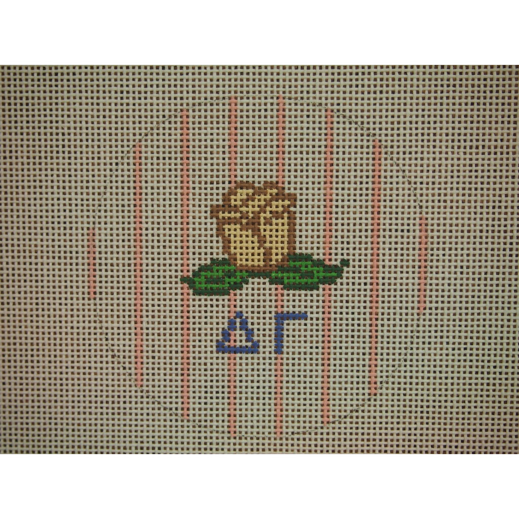 "Delta Gamma</br> 3"" Round Canvas-Needlepoint Canvas-Kangaroo Paws-18 mesh-KC Needlepoint"
