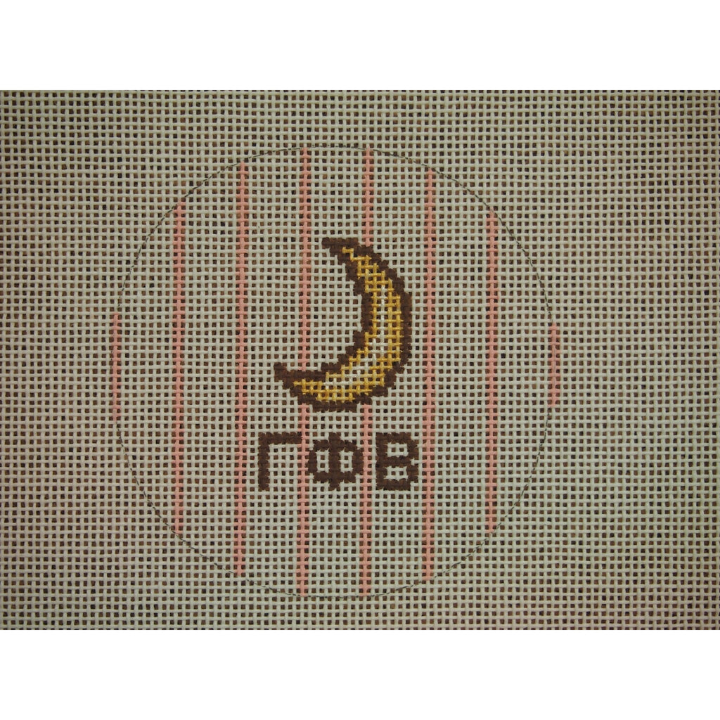 "Gamma Phi Beta</br> 3"" Round Canvas-Needlepoint Canvas-Kangaroo Paws-18 mesh-KC Needlepoint"