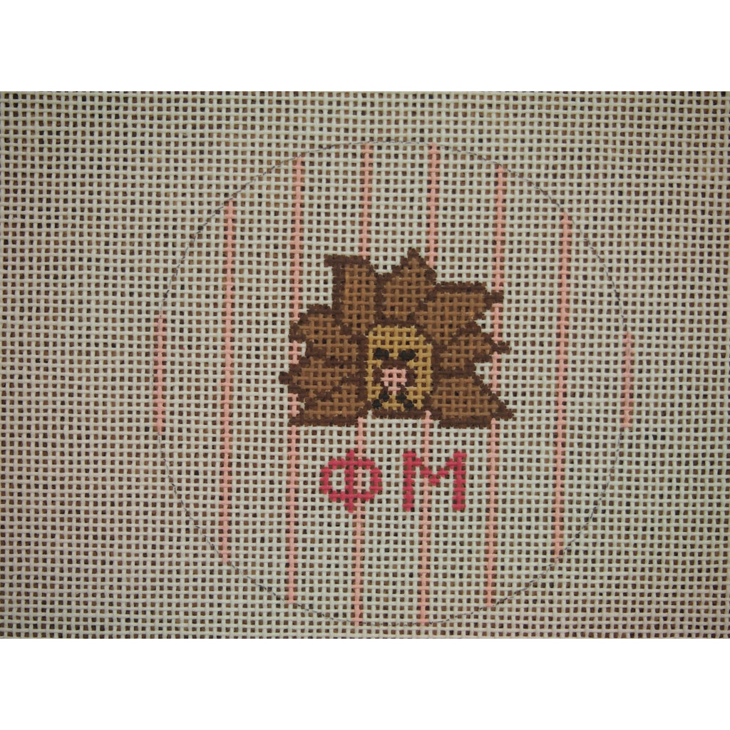 "Phi Mu</br> 3"" Round Canvas-Needlepoint Canvas-Kangaroo Paws-18 mesh-KC Needlepoint"
