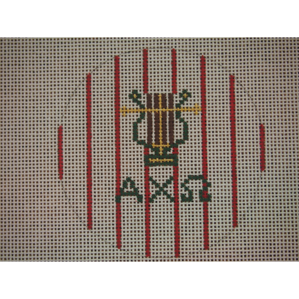 "Alpha Chi Omega</br> 3"" Round Canvas-Needlepoint Canvas-Kangaroo Paws-18 mesh-KC Needlepoint"