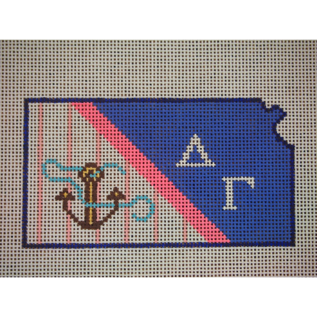 Kansas Delta Gamma Canvas-Kangaroo Paws-KC Needlepoint