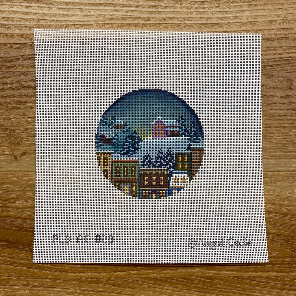 House in Winter Ornament Canvas