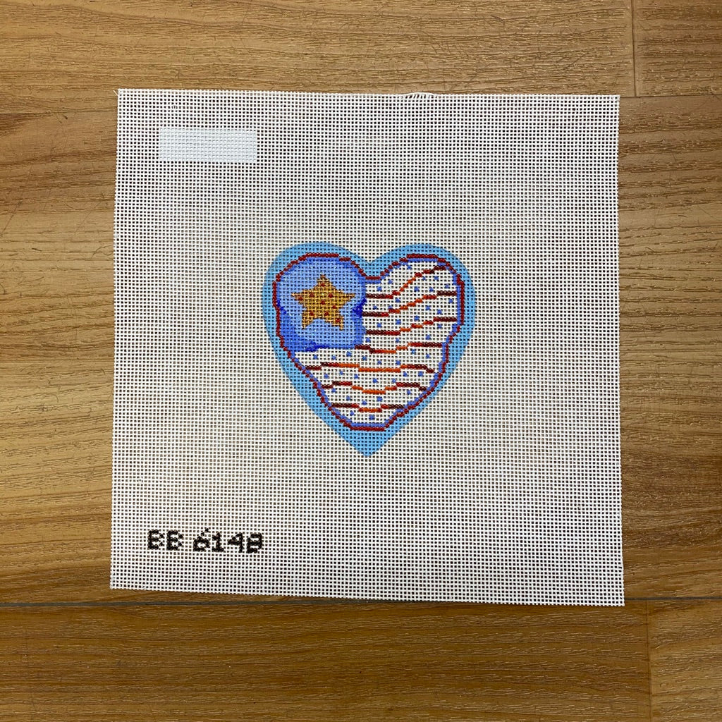Americana Heart Flag Canvas - needlepoint