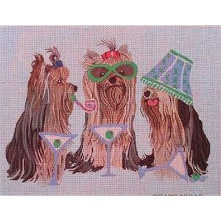 Yorkies Partying Canvas - needlepoint