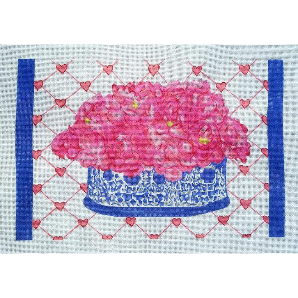 Peonies Needlepoint Canvas - needlepoint