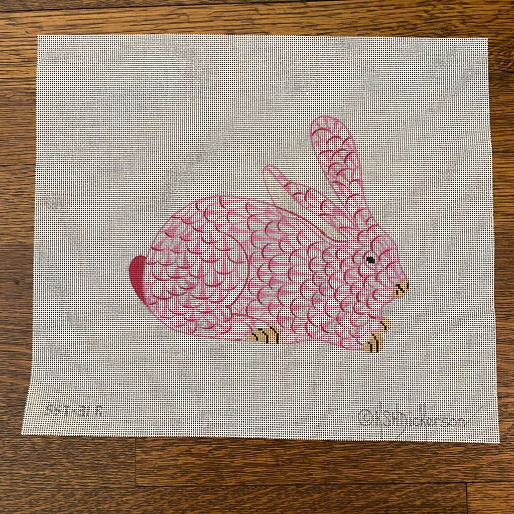 Herend Pink Bunny Needlepoint Canvas - KC Needlepoint