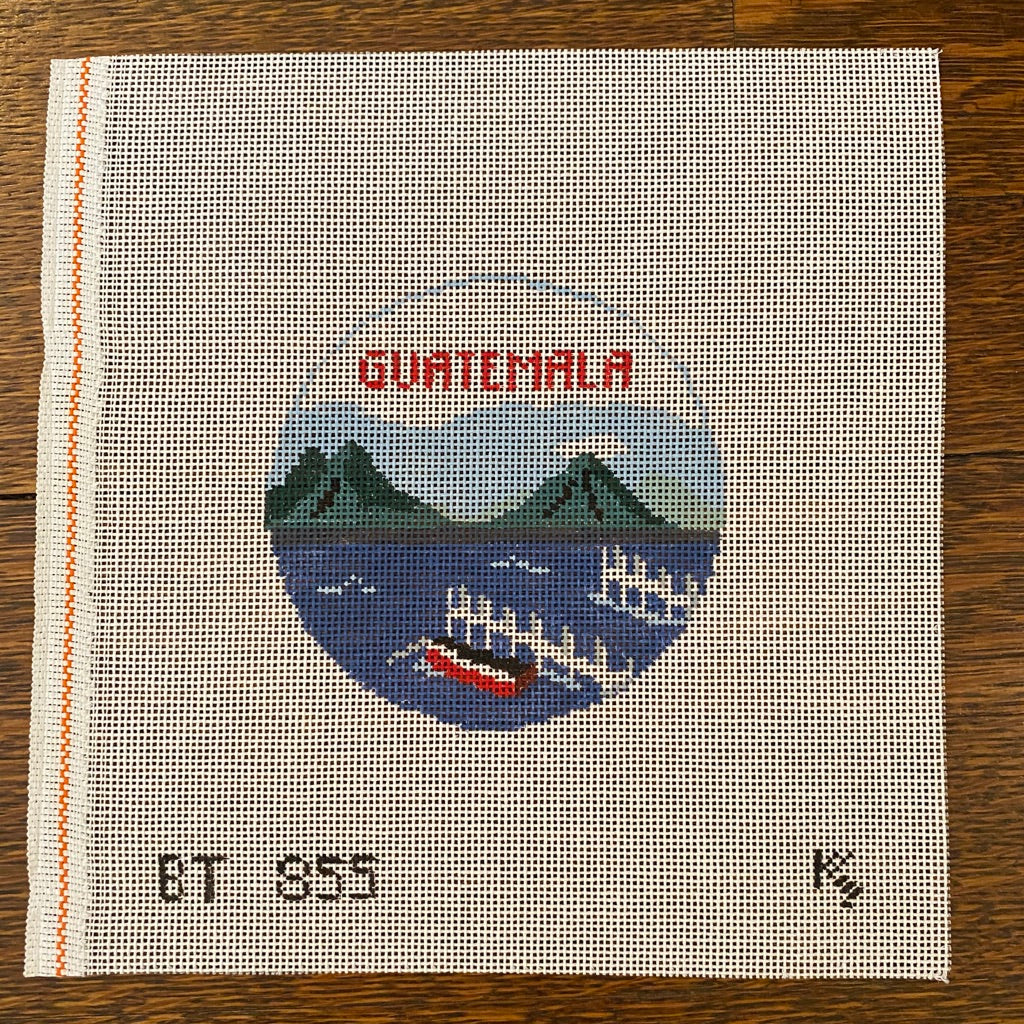 Guatemala Travel Round Canvas-Needlepoint Canvas-KC Needlepoint