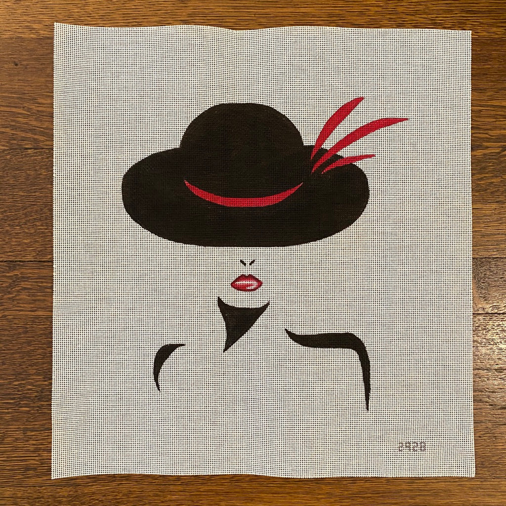 Vogue Lady with Red Feathers in Hat Canvas-Needlepoint Canvas-KC Needlepoint