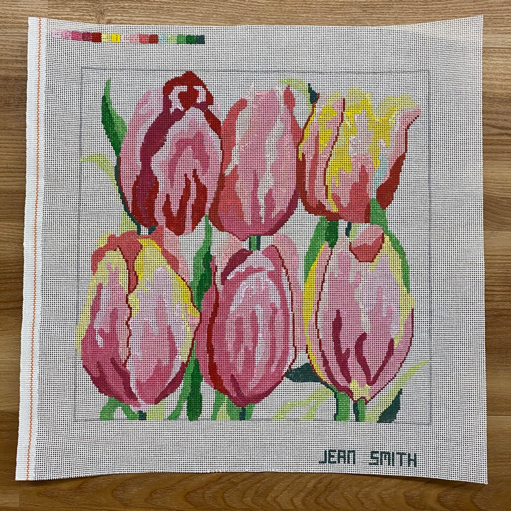 Dancing Tulips Needlepoint Canvas - needlepoint
