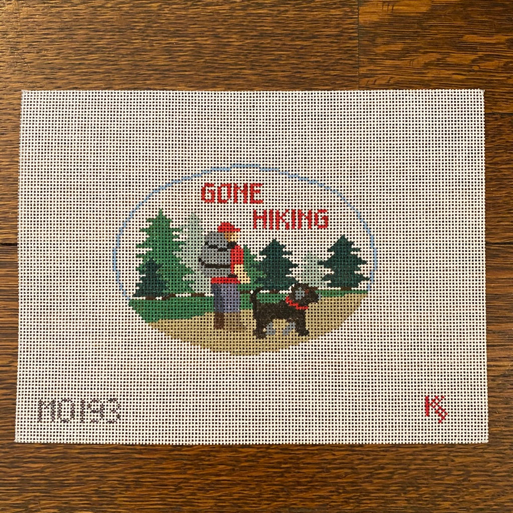 Gone Hiking Oval Canvas - needlepoint