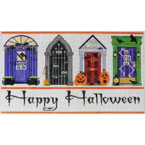 Halloween Doors Canvas-Needlepoint Canvas-The Meredith Collection-KC Needlepoint
