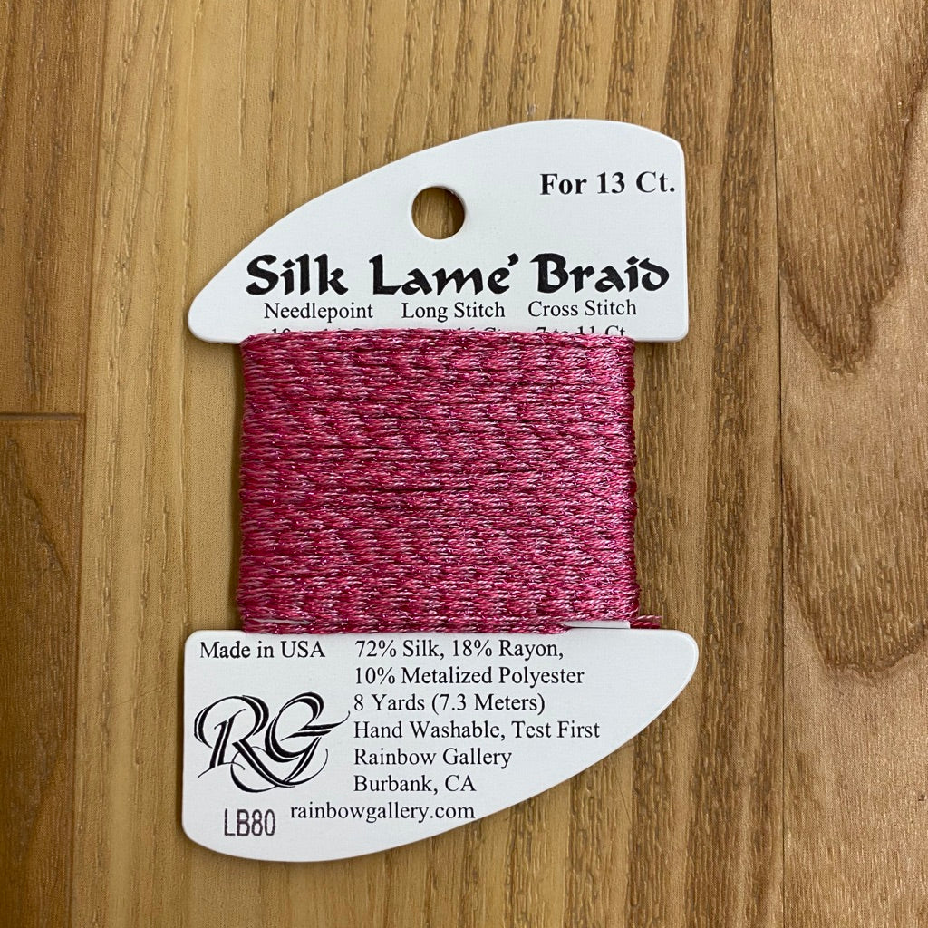 Silk Lamé Braid LB80 Pink Carnation-Silk Lamé Braid-KC Needlepoint