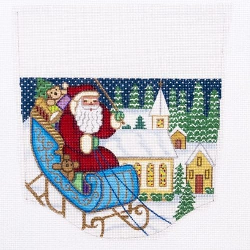 Santa in Sleigh Stocking Cuff Canvas-Needlepoint Canvas-Alexa Needlepoint Designs-KC Needlepoint