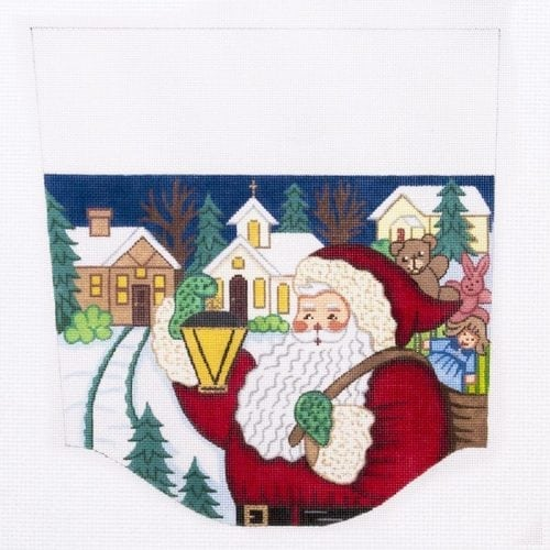 Santa with Lantern Stocking Cuff Canvas