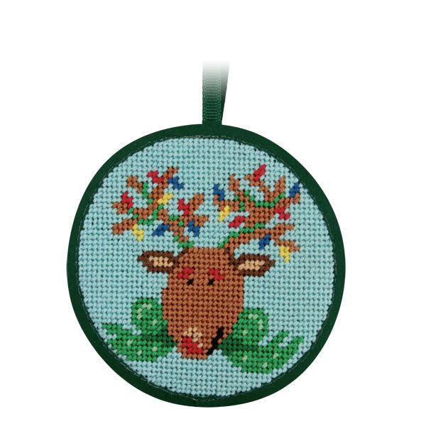 Round Ornament Needlepoint Kits-Needlepoint Canvas-Alice Peterson-Reindeer-KC Needlepoint