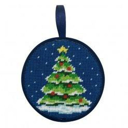 Round Ornament Needlepoint Kits-Needlepoint Canvas-Alice Peterson-Christmas Tree-KC Needlepoint