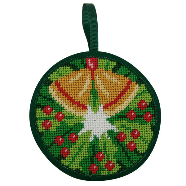 Round Ornament Needlepoint Kits-Needlepoint Canvas-Alice Peterson-Christmas Wreath-KC Needlepoint