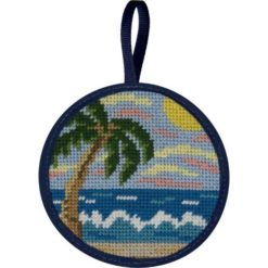 Round Ornament Needlepoint Kits-Needlepoint Canvas-Alice Peterson-Tropical Beach-KC Needlepoint