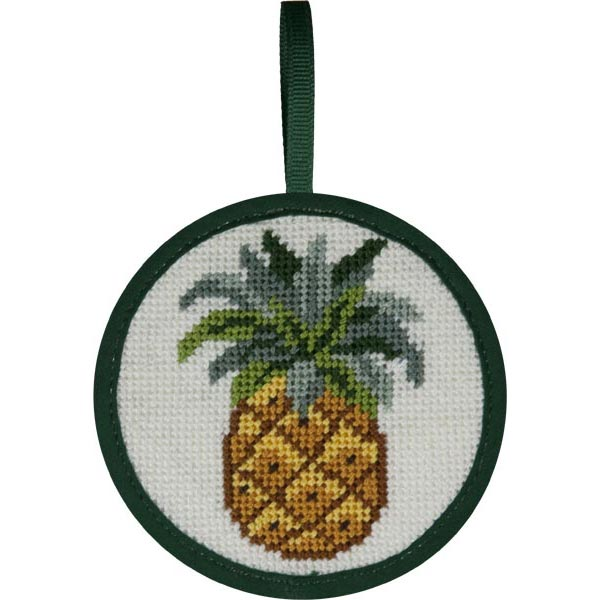 Round Ornament Needlepoint Kits-Needlepoint Canvas-Alice Peterson-Pineapple-KC Needlepoint