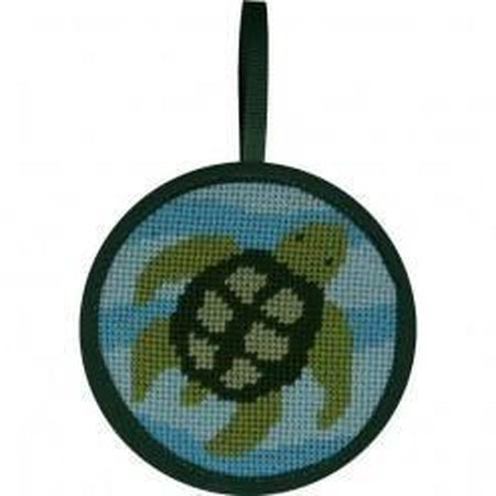 Round Ornament Needlepoint Kits-Needlepoint Canvas-Alice Peterson-Turtle-KC Needlepoint
