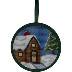 Round Ornament Needlepoint Kits-Needlepoint Canvas-Alice Peterson-Cabin in the Snow-KC Needlepoint