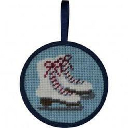 Round Ornament Needlepoint Kits-Needlepoint Canvas-Alice Peterson-Ice Skates-KC Needlepoint