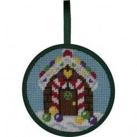 Round Ornament Needlepoint Kits-Needlepoint Canvas-Alice Peterson-Gingerbread House-KC Needlepoint
