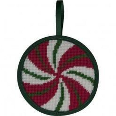 Round Ornament Needlepoint Kits-Needlepoint Canvas-Alice Peterson-Peppermint Swirl-KC Needlepoint