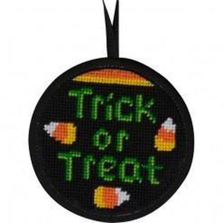 Round Ornament Needlepoint Kits-Needlepoint Canvas-Alice Peterson-Trick or Treat-KC Needlepoint