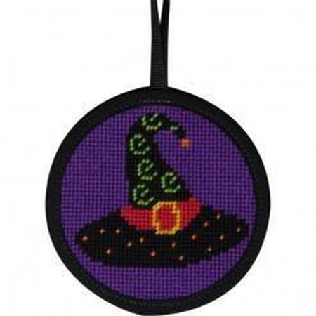 Round Ornament Needlepoint Kits-Needlepoint Canvas-Alice Peterson-Witch Hat-KC Needlepoint