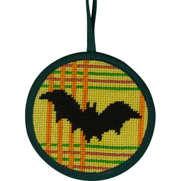 Round Ornament Needlepoint Kits-Needlepoint Canvas-Alice Peterson-Bat on Plaid-KC Needlepoint