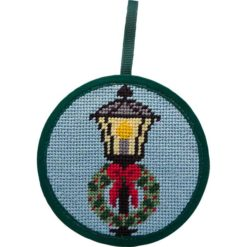 Round Ornament Needlepoint Kits-Needlepoint Canvas-Alice Peterson-Lamp Post & Wreath-KC Needlepoint