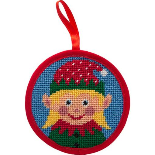 Round Ornament Needlepoint Kits-Needlepoint Canvas-Alice Peterson-Girl Elf-KC Needlepoint