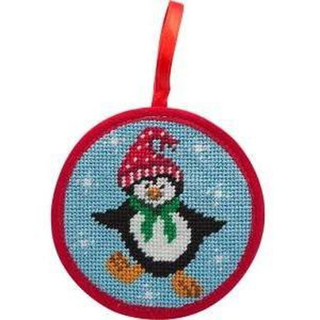 Round Ornament Needlepoint Kits-Needlepoint Canvas-Alice Peterson-Dancing Penguin-KC Needlepoint