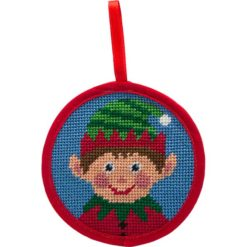 Round Ornament Needlepoint Kits-Needlepoint Canvas-Alice Peterson-Boy Elf-KC Needlepoint